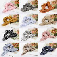 CUTE Rabbit Ear Knot Bow Hair Band Tie Rope Wrap Elastic Ponytail Scrunchie Girl