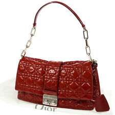 Auth Christian Dior Cannage Chain Shoulder Bag Red Patent Leather Italy O01193