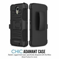 Belt Clip Holster Kickstand Hybrid case Cover Verizon For Motorola Droid Turbo 2