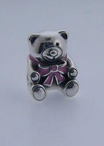 791124EN24 PANDORA STERLING SILVER IT'S A GIRL PINK TEDDY BEAR BEAD RETIRED RARE