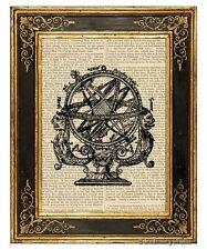 Armillary Sphere 1 Art Print on Antique Book Page Vintage Illustration Globe