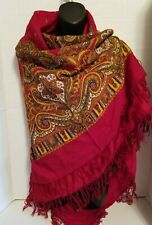 "Pavlovo Posad Russian Scarf Authentic Large Shawl 100% Wool 146cm 57"" Maroon"
