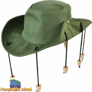 AUSSIE OUTBACK CORKS CROCODILE DUNDEE HAT Adults Mens Fancy Dress Accessory