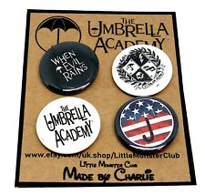 THE UMBRELLA ACADEMY BUTTON PIN BADGES - Gerard Way - 25mm buttons - Comic book