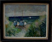 Arnold William Pedersen 1912-1986, Fischerboote am Strand, um 1960