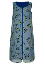 Blue Floral zest chiffon Overlay stretchy lined Desk to dinner party dress 16