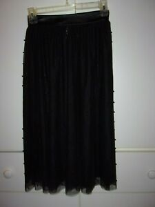 Victoria's Secret black lace beaded midi skirt slip faux leather waist XS