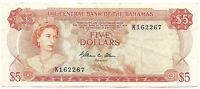 Bahamas Banknote 5 Dollars $ 1974 P37b VF Queen Elizabeth Currency NR Free Post