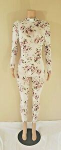 Womens Mesh Jumpsuit Catsuit Floral Unitard