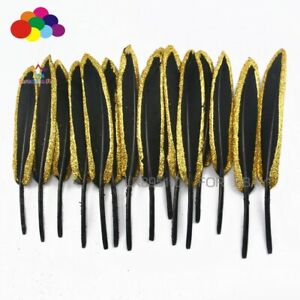 10-100pcs black Dipped gold Duck feather 9-14cm Wedding making Decorations Plume