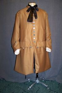 Frock Coat, Khaki Wool, 18th Cent. Patriot Pirate, Outlander Turn