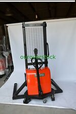 """Straddle Manual Push Electric Lift Stacker 3,300 lb 63"""" lift height"""