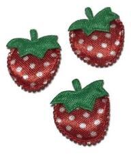 "5 pcs Red strawberry 7/8"" padded appliqué DIY headbands & bows"