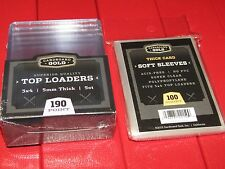 Pack of CBG 3X4 190 point Toploaders & Thick Soft Penny Sleeves for Jersey Cards