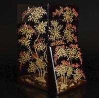Antique Japanese Lacquer Nandina Makie Stacking Boxes Jubako Meiji Period