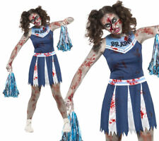 Teen Zombie Cheerleader Costume Girls Halloween School Fancy Dress + Pom Poms