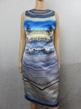 New Alexander McQueen Blue Sleeveless Silk Print Dress Size 44 NWT $2880