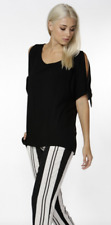 FATE + BECKER Black Althea Cold Shoulder Blouse - Size 10 - New