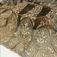 "1Yard Gold Flower Embroidered Black Mesh Lace Fabric Wedding Dress 51"" Width"