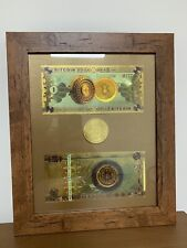 Bitcoin (BTC) Cryptocurrency 'Gold' Banknotes and Coin Frame