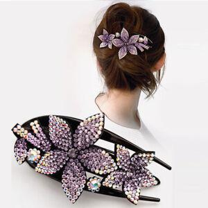 Female Geometric Hairpins Rhinestone Flower Hair Clips Women Accessories Party