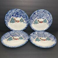 4 Tienshan Folkcraft CABIN IN THE SNOW Dinner Plates Cottage Lodge Christmas
