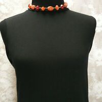 Vintage Red Orange Amber Stone Beads Brass Accents 16 inch Necklace