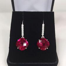 BEAUTIFUL 12cts Cushion Cut Ruby Sterling Silver Earrings Dangle NWT 12mm Lab