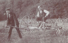 1910s CABINET PHOTO 2 MEN GOOFING WITH HORSE DRAWN HAY RAKE
