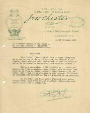 Lettera J. & W. Chester London Casa Editrice Musicale 1923