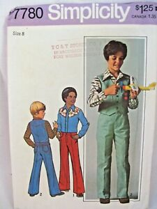 1970s Simplicity 7780 Boys Size 8 Jeans Western Shirt Vest Vintage Pattern Uncut