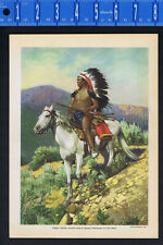 Pueblo Indian on Horseback by Carl Moon -1919 Lithograph