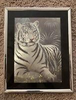 "Holographic White Tiger Picture 8x10"" Metallic Shiny Bengal Foil Print Vtg 90's"