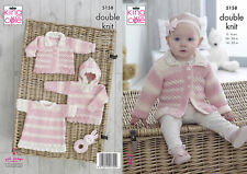 Knitting Pattern Baby DK Lacy pull capuche Angel Top & Veste King Cole 5158