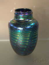 David Lotton Studio Art Glass Blue & Green Iridescent ZIPPER Vase