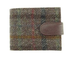 Authentic Harris Tweed Gents Coin Wallet Brown Checked LB2105 - COL 8