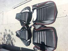 PORSCHE 911 944 76-84 SEAT KIT UPHOLSTERY BLACK LEATHER KIT CUSTOM RED PIPING