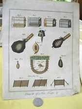 18th Century,Copper Engraving,Color,NETS & TRAPS,PL.II