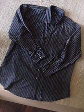 PanHandle Slim Mens Western Pearl Snap Shirt Black Striped Size XXLT A50