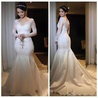 Mermaid Wedding Dresses With Applique Lace Long Sleeve Satin Train Bridal Gowns