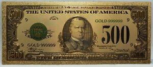 "1928 $500 Federal Reserve McKinley Novelty 24K Gold Foil Plated Note 6"" LG315"