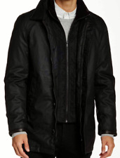 NWT Vince Camuto Carcoat with Removable Bib In BLACK Sz: L $298