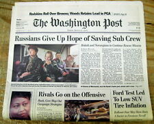 2000 newspaper Russian nuclear Submarine KURSK DISASTER with 118 crewmen dead