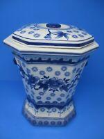 "China Blue Seymour Mann 11"" Blue White Fine Porcelain Lidded Jar"