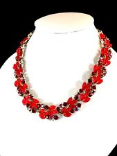 RARE LISNER SILVER-TONE RUBY RED JELLY LUCITE AB RHINESTONE FLORAL LEAF NECKLACE
