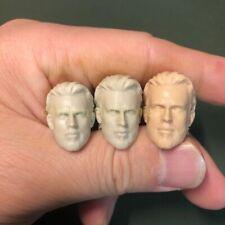 """1/12 Head Sculpt Captain America Chris Evans Unpainted fit 6"""" shf ml Mez one:12"""