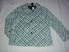 NEW $169 TALBOTS White,Green Plaid Cotton Swing Coat,Jacket Sz 10P,10 Petite