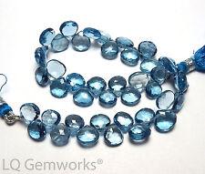 "8"" LONDON BLUE TOPAZ 8mm Faceted Teardrop Beads AAA /h3"