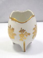 Vintage Birks Porcelaine de France Hand Painted Gilded 24K Gold Egg Footed Vase