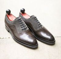 Handmade Brown Gray Shoes, Men Suede Leather Brogue Formal Dress Oxford Shoes